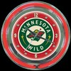"Minnesota Wild 14"" – Guaranteed bright and brilliant neon color! Quality neon clocks and neon wall clocks for less. Full 1-5 year no hassle warranty."