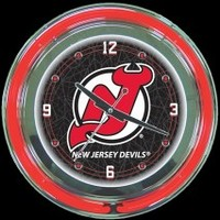 "New Jersey Devils 14"" Neon Clock – Guaranteed bright and brilliant neon color! Quality neon clocks and neon wall clocks for less. Full 1-5 year no hassle warranty."