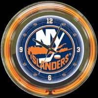 "New York Islanders 14"" Neon Clock – Guaranteed bright and brilliant neon color! Quality neon clocks and neon wall clocks for less. Full 1-5 year no hassle warranty."