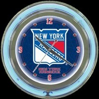 "New York Rangers 14"" Neon Clock – Guaranteed bright and brilliant neon color! Quality neon clocks and neon wall clocks for less. Full 1-5 year no hassle warranty."