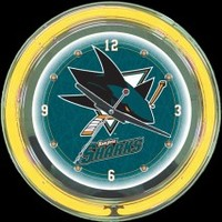 "San Jose Sharks 14"" Neon Clock – Guaranteed bright and brilliant neon color! Quality neon clocks and neon wall clocks for less. Full 1-5 year no hassle warranty."