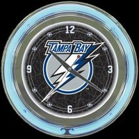 "Tampa Bay Lightning 14"" Neon Clock – Guaranteed bright and brilliant neon color! Quality neon clocks and neon wall clocks for less. Full 1-5 year no hassle warranty."