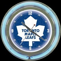 "Toronto Maple Leafs 14"" Neon Clock – Guaranteed bright and brilliant neon color! Quality neon clocks and neon wall clocks for less. Full 1-5 year no hassle warranty."