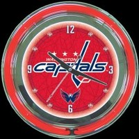 "Washington Capitals 14"" Neon Clock – Guaranteed bright and brilliant neon color! Quality neon clocks and neon wall clocks for less. Full 1-5 year no hassle warranty."