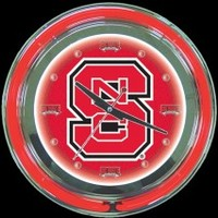"NC State 14"" Double Neon Clock – Guaranteed bright and brilliant neon color! Quality neon clocks and neon wall clocks for less. Full 1-5 year no hassle warranty."