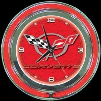 "Corvette C5 Red 14"" Neon Clock – Guaranteed bright and brilliant neon color! Quality neon clocks and neon wall clocks for less. Full 1-5 year no hassle warranty."
