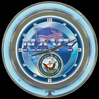 "Navy 14"" Double Neon Clock – Guaranteed bright and brilliant neon color! Quality neon clocks and neon wall clocks for less. Full 1-5 year no hassle warranty."