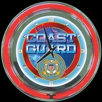 "Coast Guard 14"" Double Neon Clock – Guaranteed bright and brilliant neon color! Stunning neon wall clocks for less. Full 1-5 year no hassle warranty."