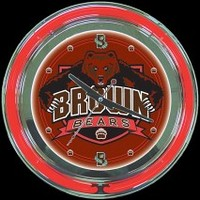 "Brown University 14"" Neon Clock – Guaranteed bright and brilliant neon color! Quality neon clocks and neon wall clocks for less. Full 1-5 year no hassle warranty."