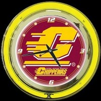 "Central Michigan 14"" Neon Clock – Guaranteed bright and brilliant neon color! Quality neon clocks and neon wall clocks for less. Full 1-5 year no hassle warranty."