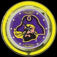 "East Carolina 14"" Double Neon Clock – Guaranteed bright and brilliant neon color! Quality neon clocks and neon wall clocks for less. Full 1-5 year no hassle warranty."