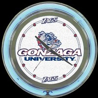 "Gonzaga 14"" Double Neon Clock – Guaranteed bright and brilliant neon color! Quality neon clocks and neon wall clocks for less. Full 1-5 year no hassle warranty."