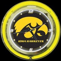"Iowa Hawkeyes 14"" Neon Clock – Guaranteed bright and brilliant neon color! Quality neon clocks and neon wall clocks for less. Full 1-5 year no hassle warranty."