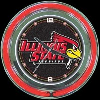 "Illinois State 14"" Neon Clock – Guaranteed bright and brilliant neon color! Quality neon clocks and neon wall clocks for less. Full 1-5 year no hassle warranty."