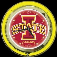 "Iowa State 14"" Neon Clock – Guaranteed bright and brilliant neon color! Quality neon clocks and neon wall clocks for less. Full 1-5 year no hassle warranty."