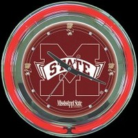 "Mississippi State 14"" Neon Clock – Guaranteed bright and brilliant neon color! Quality neon clocks and neon wall clocks for less. Full 1-5 year no hassle warranty."
