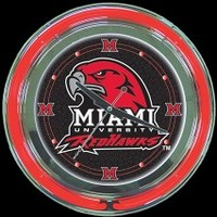 "Miami Redhawks 14"" Neon Clock – Guaranteed bright and brilliant neon color! Quality neon clocks and neon wall clocks for less. Full 1-5 year no hassle warranty."