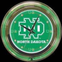 "North Dakota 14"" Neon Clock – Guaranteed bright and brilliant neon color! Quality neon clocks and neon wall clocks for less. Full 1-5 year no hassle warranty."
