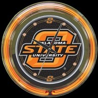 "Oklahoma State 14"" Neon Clock – Guaranteed bright and brilliant neon color! Quality neon clocks and neon wall clocks for less. Full 1-5 year no hassle warranty."