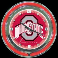 "Ohio State 14"" Neon Clock – Guaranteed bright and brilliant neon color! Quality neon clocks and neon wall clocks for less. Full 1-5 year no hassle warranty."