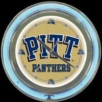 "Pittsburgh Panthers 14"" Neon Clock – Guaranteed bright and brilliant neon color! Quality neon clocks and neon wall clocks for less. Full 1-5 year no hassle warranty."