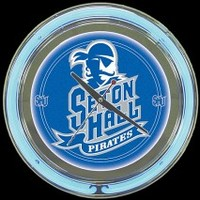 "Seton Hall 14"" Neon Clock – Guaranteed bright and brilliant neon color! Quality neon clocks and neon wall clocks for less. Full 1-5 year no hassle warranty."