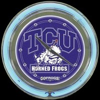 "Texas Christian 14"" Neon Clock – Guaranteed bright and brilliant neon color! Quality neon clocks and neon wall clocks for less. Full 1-5 year no hassle warranty."