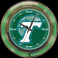 "Tulane 14""  Double Neon Clock – Guaranteed bright and brilliant neon color! Quality neon clocks and neon wall clocks for less. Full 1-5 year no hassle warranty."