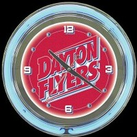 "Dayton Flyers 14"" Neon Clock – Guaranteed bright and brilliant neon color! Quality neon clocks and neon wall clocks for less. Full 1-5 year no hassle warranty."