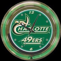 "UNC Charlotte 14"" Double Neon Clock – Guaranteed bright and brilliant neon color! Quality neon clocks and neon wall clocks for less. Full 1-5 year no hassle warranty."