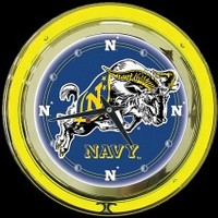 "Naval Academy 14"" Neon Clock – Guaranteed bright and brilliant neon color! Quality neon clocks and neon wall clocks for less. Full 1-5 year no hassle warranty."
