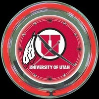"Utah 14"" Double Neon Clock – Guaranteed bright and brilliant neon color! Quality neon clocks and neon wall clocks for less. Full 1-5 year no hassle warranty."