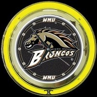 "Western Michigan 14"" Neon Clock – Guaranteed bright and brilliant neon color! Quality neon clocks and neon wall clocks for less. Full 1-5 year no hassle warranty."