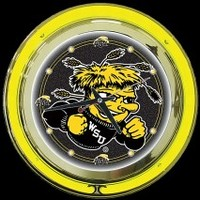 "Wichita State 14"" Neon Clock – Guaranteed bright and brilliant neon color! Quality neon clocks and neon wall clocks for less. Full 1-5 year no hassle warranty."