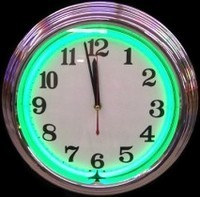 "Chrome Green Neon Clock 14.5"" – Guaranteed bright and brilliant neon color! Quality neon clocks and neon wall clocks for less. Full 1-5 year no hassle warranty."