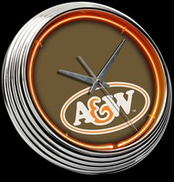 "A&W Root Beer Neon Clock 15"" – Guaranteed bright and brilliant neon color! Quality neon clocks and neon wall clocks for less. Full 1-5 year no hassle warranty."