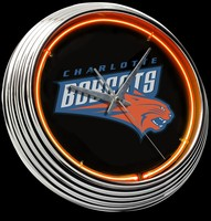 "Charlotte Bobcats Neon Clock 15"" – Guaranteed bright and brilliant neon color! Quality neon clocks and neon wall clocks for less. Full 1-5 year no hassle warranty."