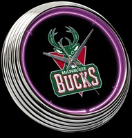 "Milwaukee Bucks Neon Clock 15"" – Guaranteed bright and brilliant neon color! Quality neon clocks and neon wall clocks for less. Full 1-5 year no hassle warranty."