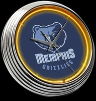 "Memphis Grizzlies Neon Clock 15"" – Guaranteed bright and brilliant neon color! Quality neon clocks and neon wall clocks for less. Full 1-5 year no hassle warranty."