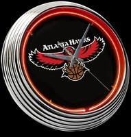 "Atlanta Hawks Neon Clock 15"" – Guaranteed bright and brilliant neon color! Quality neon clocks and neon wall clocks for less. Full 1-5 year no hassle warranty."