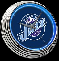 "Utah Jazz Neon Clock 15"" – Guaranteed bright and brilliant neon color! Quality neon clocks and neon wall clocks for less. Full 1-5 year no hassle warranty."
