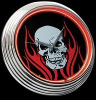"Flaming Skull Neon Clock 15"" – Guaranteed bright and brilliant neon color! Quality neon clocks and neon wall clocks for less. Full 1-5 year no hassle warranty."