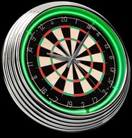 "Dartboard Neon Clock 15"" – Guaranteed bright and brilliant neon color! Quality neon clocks and neon wall clocks for less. Full 1-5 year no hassle warranty."
