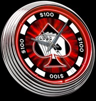 "Poker Chip Neon Clock 15"" – Guaranteed bright and brilliant neon color! Quality neon clocks and neon wall clocks for less. Full 1-5 year no hassle warranty."