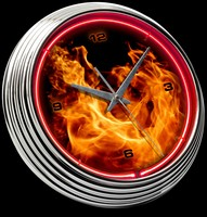 "Blazing Fire Neon Clock 15"" – Guaranteed bright and brilliant neon color! Quality neon clocks and neon wall clocks for less. Full 1-5 year no hassle warranty."