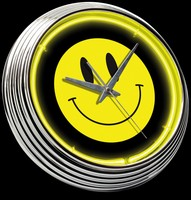"Smiley Face Neon Clock 15"" – Guaranteed bright and brilliant neon color! Quality neon clocks and neon wall clocks for less. Full 1-5 year no hassle warranty."