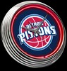 "Detroit Pistons 15"" – Guaranteed bright and brilliant neon color! Quality neon clocks and neon wall clocks for less. Full 1-5 year no hassle warranty."