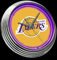 "Los Angeles Lakers Neon Clock 15"" – Guaranteed bright and brilliant neon color! Quality neon clocks and neon wall clocks for less. Full 1-5 year no hassle warranty."