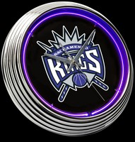 "Sacramento Kings Neon Clock 15"" – Guaranteed bright and brilliant neon color! Quality neon clocks and neon wall clocks for less. Full 1-5 year no hassle warranty."