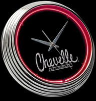 "Chevy Chevelle Neon Clock 15"" – Guaranteed bright and brilliant neon color! Quality neon clocks and neon wall clocks for less. Full 1-5 year no hassle warranty."